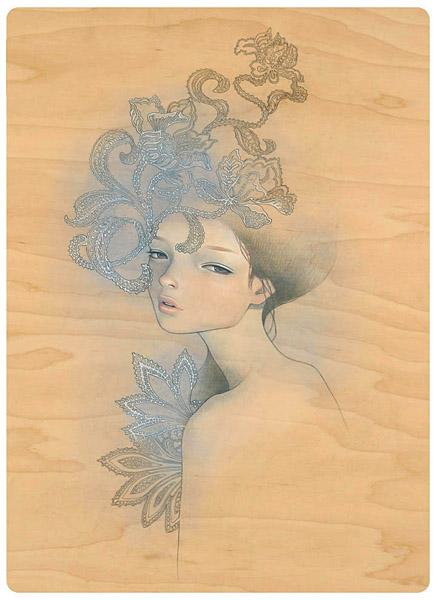 Одри Кавасаки(Audrey Kawasaki).  Рисунки на деревянных досточках. ч. 2.