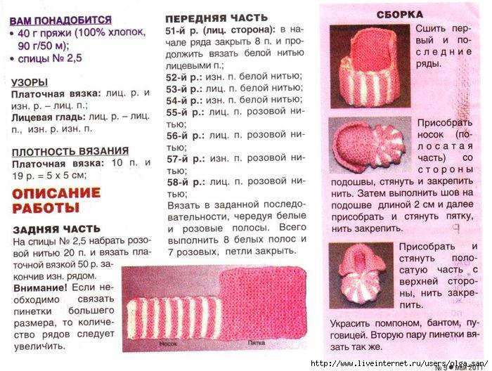 Пинетки спицами в картинках с описанием и схемами