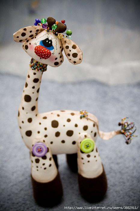 Текстильная игрушка жирафик.  Выкройка и МК.