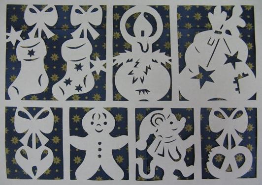 Картинки из бумаги на стекло на новый год - Самоделки