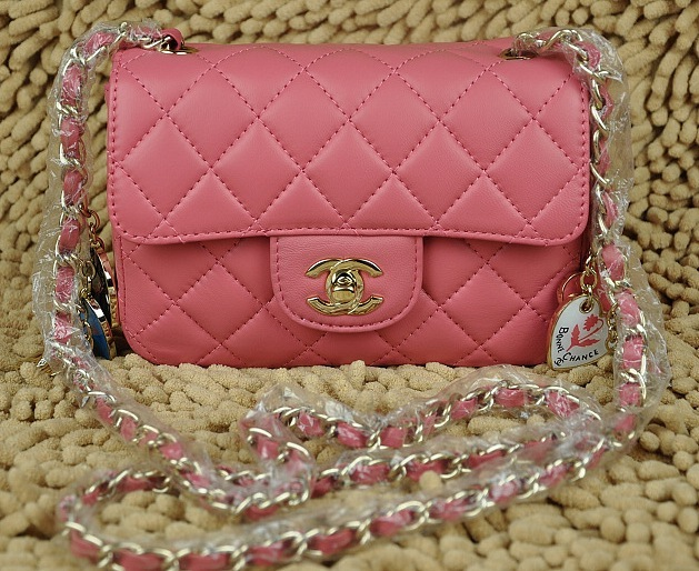 Chanel Classic Quilted Flap Pink Chains Bag A39334 with Silver Hardware.