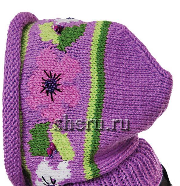 Схема вязания спицами и крючком шапки-капор с жаккардовым узором.