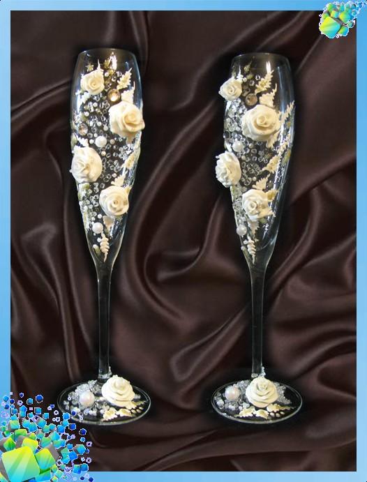 Свадебные бокалы ручной работы, украшение бокало ВКонтакте