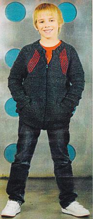Вязание для детей.  Кофта для мальчика в спортивном стиле.