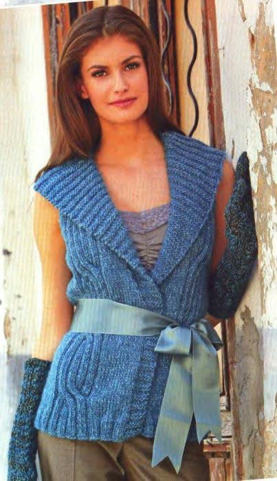 Вязаный женский жилет. схема вязания жилета спицами.  Автор:Admin.