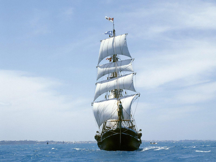 Скачать обои парусник, море, ветер бесплатно для рабочего стола в...