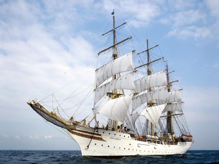 Корабль, белое, корабли, море, парусник, природа, синее 1152х864