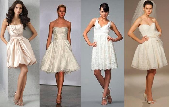 Короткие свадебные платья: со шлейфом, короткие и пышные.
