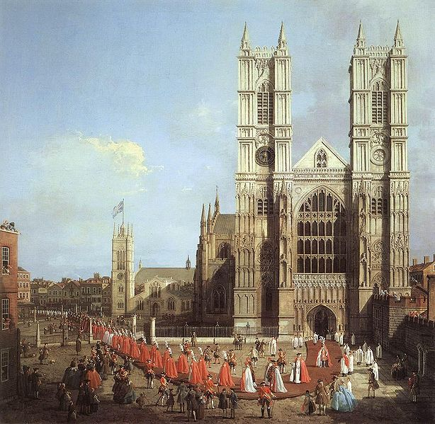 Westminster Abbey with a procession of Knights of the Bath, by Canaletto, 1749. (614x599, 105Kb)