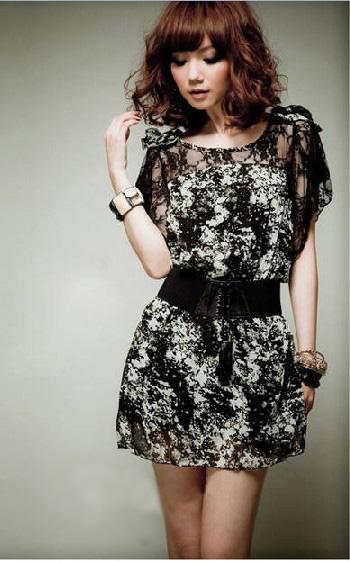 оптом Модное кружевное платье из шифона.