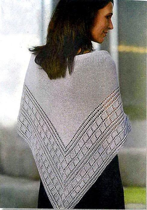 Описание: вязание на спицах шали и палантина.