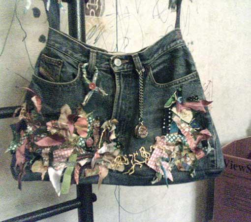 Джинсовая сумка-карман.  Очень интересная сумка из старых джинс.