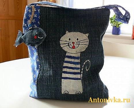 """Сумка  """"Кошка с рыбкой """", Как сшить сумку своими руками, Шьем джинсовый клатч, Дом для кота своими руками."""
