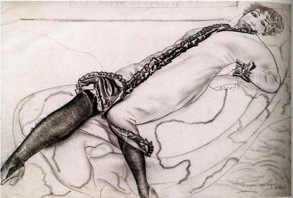 Лежащая женщина, 1916 (600x405, 71Kb)
