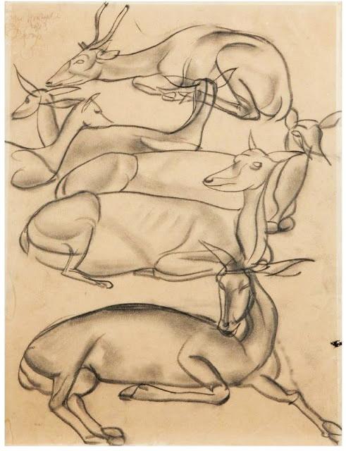 Газели. 1913 г. Карандаш на бумаге (491x640, 85Kb)