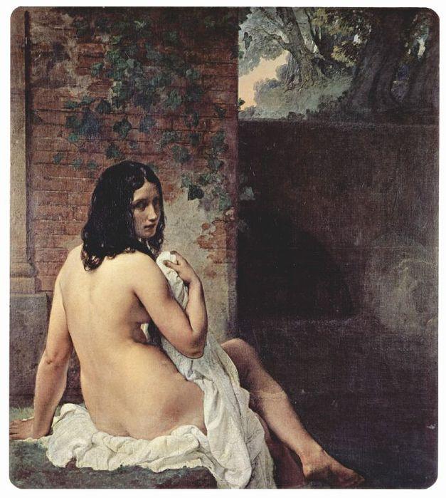 Francesco Hayez 029 - Rackenansicht einer Badenden 1859 Купальщица, сидящая спиной (627x700, 82Kb)
