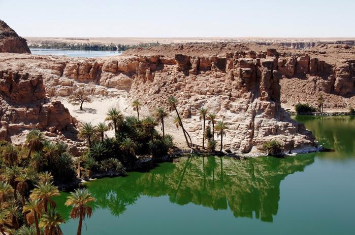 Оазис в пустыне. Пустынные озера, Чад, пустыня Сахара, Африка. (700x464, 385Kb)