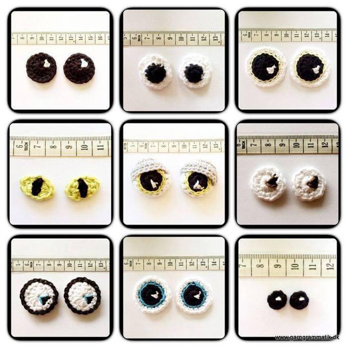 Вязаные глаза для игрушек крючком со схемами