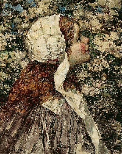 Edward Atkinson Hornel (Scottish 1864-1933)  Girl in Spring Blossoms.1910 (400x505, 89Kb)