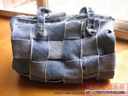 МК из старых джинсов. сумка из джинсы.  Джинсовый половик.