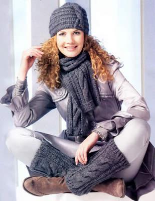 Теплый комплект с косами - шапка, шарф и гетры (спицы).