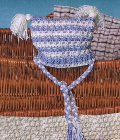 Детская шапка ушанка спицами osinka. шапка капор детская вязание спицами.