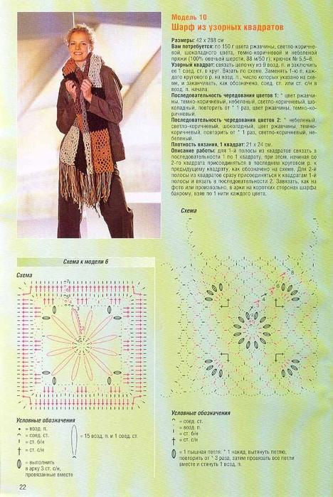 Схема вязания шарфа.