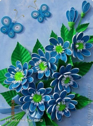 Картина, панно, рисунок Квиллинг: Голубые цветы Бумага.  Фото 1.