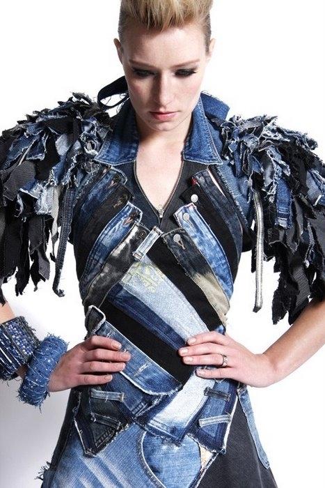 идеи по переделке джинс в кутюрные платья. как переделать джинсы.