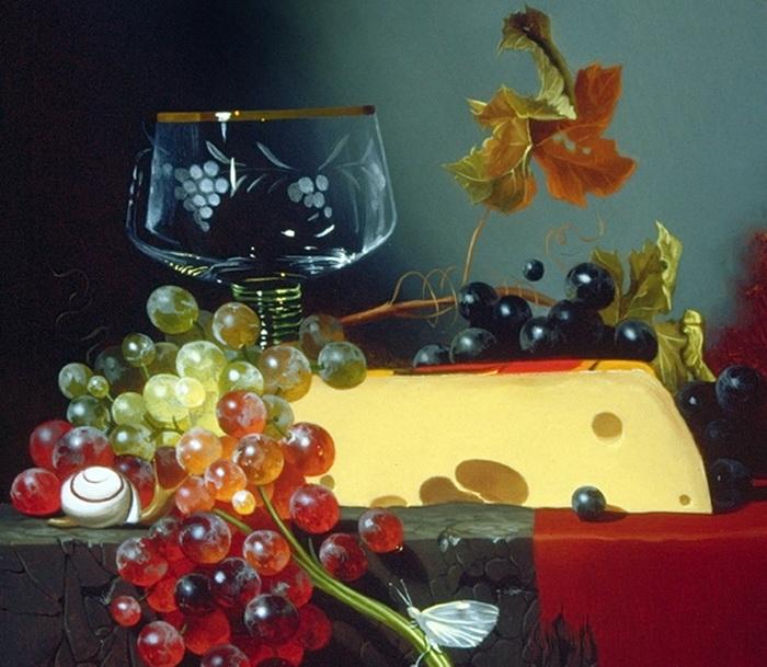 Натюрморт с виноградом худ.из Канады (700x609, 159Kb)