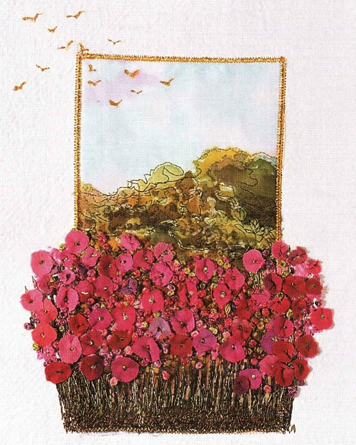 Готовая картина цветов вышитая лентами.