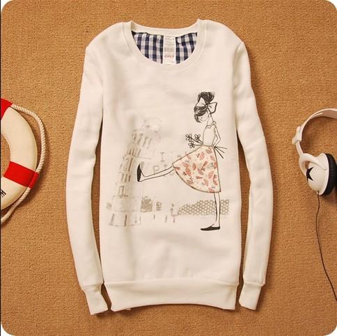Женская одежда Пальто Утеплённое пальто белого цвета с рисунком девушки.
