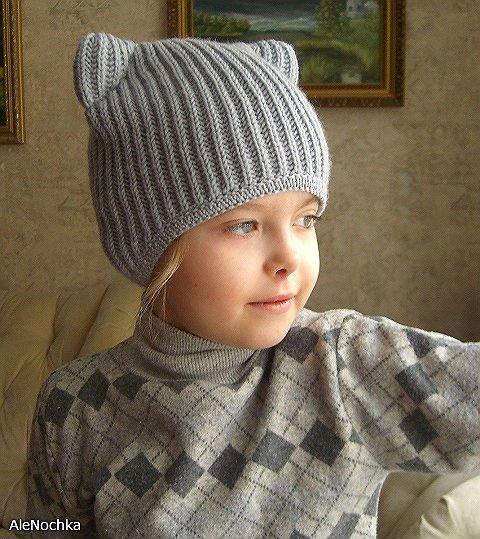 вязаная шапка кошка с ушами схема, Описание: вязаная крючком.