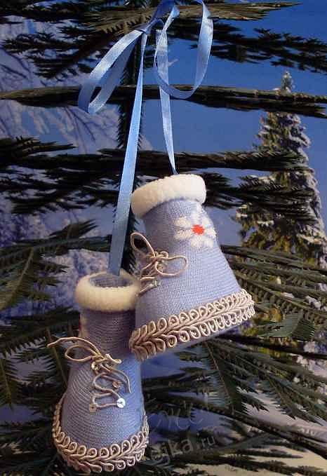 крючком: Рождественский сапожок Бусинки, Пряжа Новый год, Рождество.