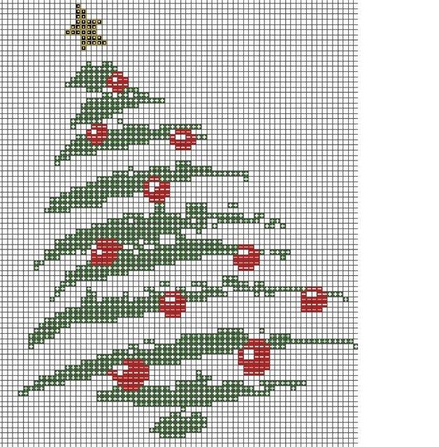 Вышивать по схеме крестом в 2 нити.  Новогодняя ёлка.