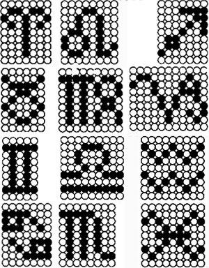 схема плетения брелка со знаком зодиака из бисера.