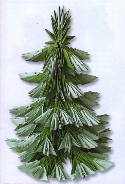 Оригами елка из модулей - Оригами