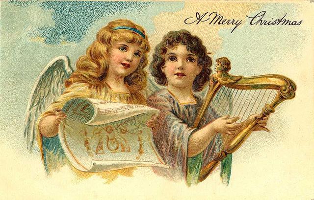 Рождественский ангел рисует картинки, Меня обнимая крылами своими.