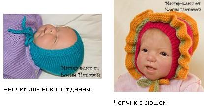 чепчики для новорожденных вязаные спицами.