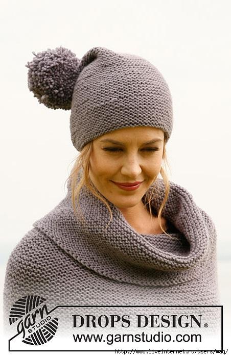 вяжем платочной вязкой пончо и шапочку с помпоном схемы вязания для