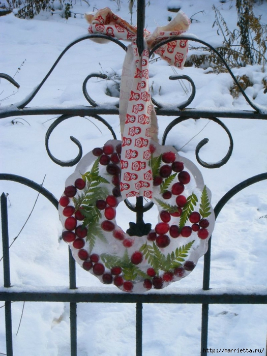 как сделать новогодний ледяной венок