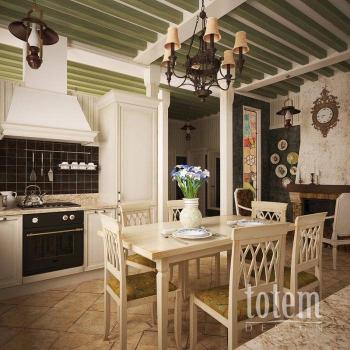 Кухня-столовая по мотивам стиля прованс.  Наталья Винничек Tashka-san.
