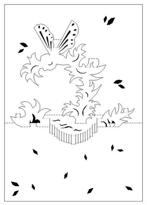 Шаблоны объемных открыток шаблон и схема, надпись
