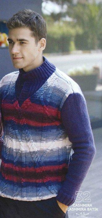 Идея, как можно использовать схему вязания с этого мужского свитера.