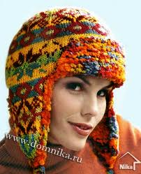 Вязание на спицах шапки ушанки.