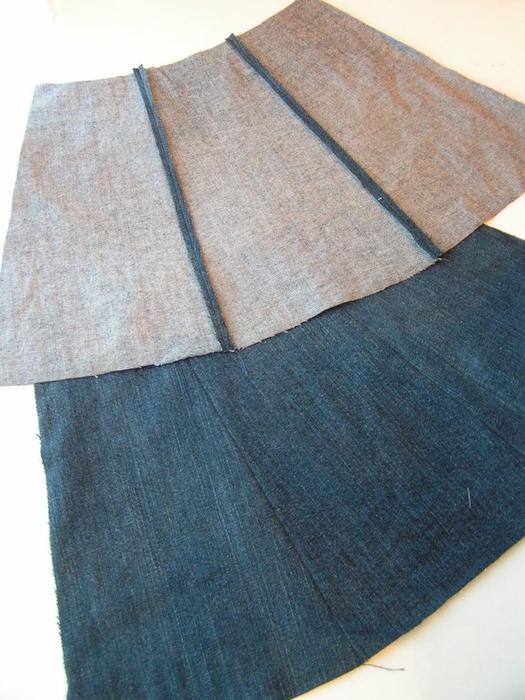 Если у вас есть старые джинсы или брюки предлагаю сшить из них юбочки.