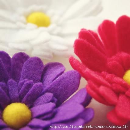 Урок: Цветок из фетра (ромашка).  Описание и шаблон.