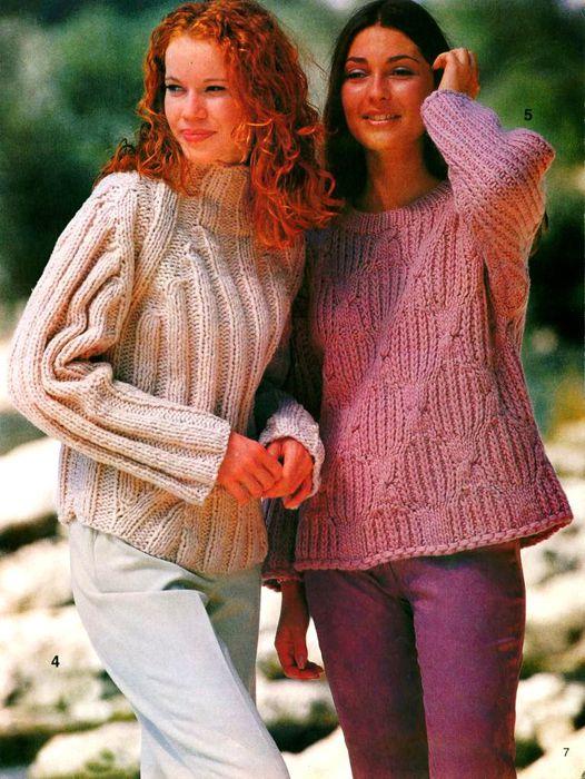 Вязание свитера из толстой пряжи спицами