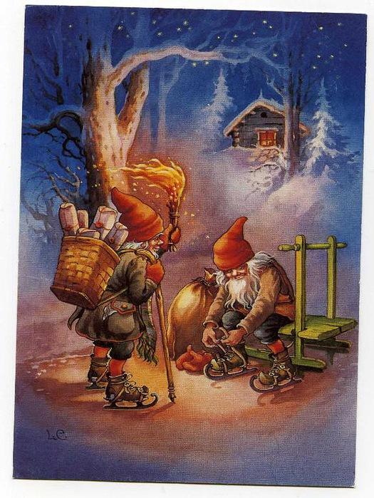 1915, рождественские открытки санта клаус с эльфами