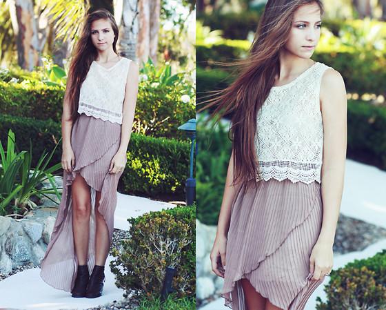 Описание: Длинная юбка плиссе.  С чем носить юбку.